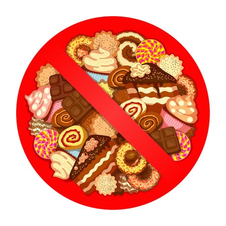 swiss roll: Huge pile of various sweets inside red prohibitory sign on white background. Prohibition of sweets in the diet concept