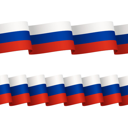 russian flag: Two seamless wavy surface ribbons with colors of Russian flag, isolated on white background Illustration