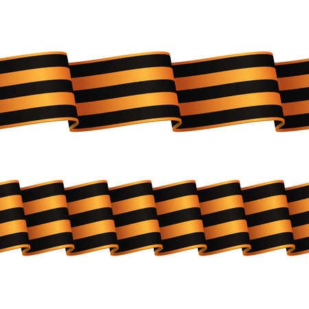 guards: Two seamless wavy surface black-and-orange ribbons. Russian guards ribbon for awards and decorations