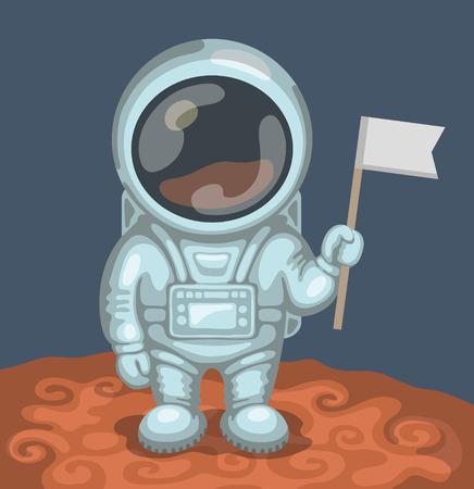 descubridor: Astronauta divertido vestido con traje espacial blanco est� de pie en el planeta rojo y sosteniendo en su peque�a bandera de la mano. Expedici�n a Marte y el espacio concepto de exploraci�n