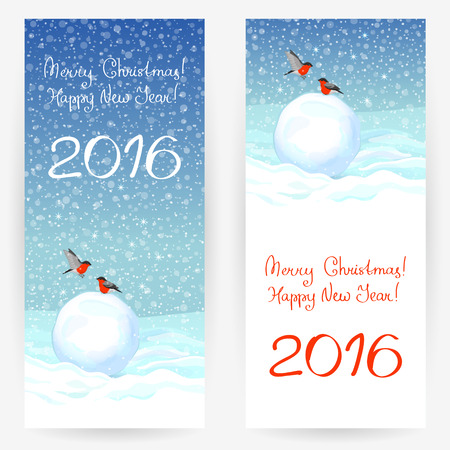 Festive greeting cards with bullfinches, snowballs at snowy background, with wishes of a Merry Christmas and a Happy New Year 2016. Vertically elongated rectangular backgrounds
