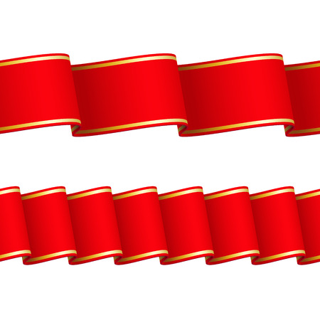 Two seamless wavy surface red ribbons with gold edgings, isolated on white background Vettoriali