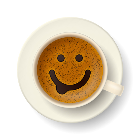Coffee cup with funny smiling face on frothy surface. Good mood and vivacity for active day Çizim