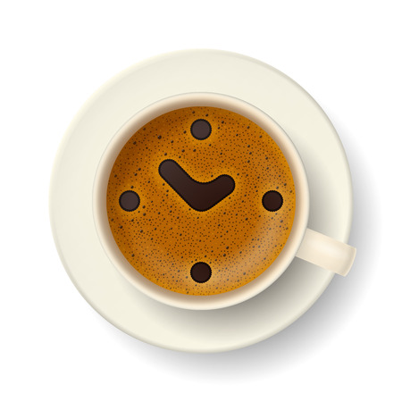 froth: Cup of coffee with froth. Stylized clock face, hour hand and minute hand, showing about 2 p. m., on frothy surface. Time to relax, drink coffee and cheer up