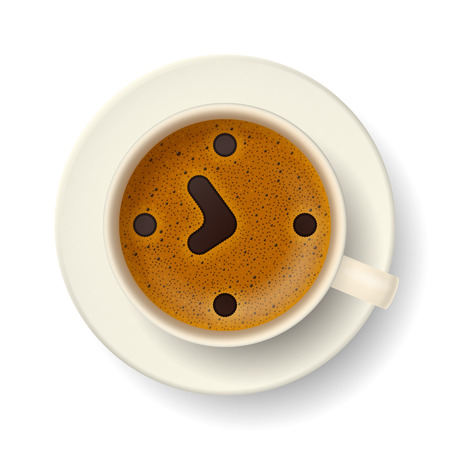 frothy: Cup of coffee with froth. Stylized clock face, hour hand and minute hand showing about 8 a. m., on frothy surface. Time to drink coffee, wake up and cheer up