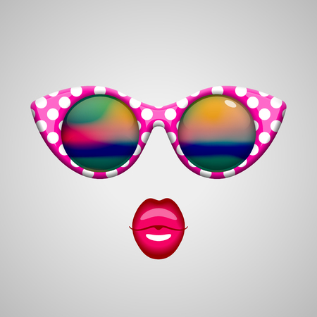 reflections: Vintage pink with white polka dots sunglasses with colorful reflections inside and bright pink kissing lips. Beauty and fashion concept