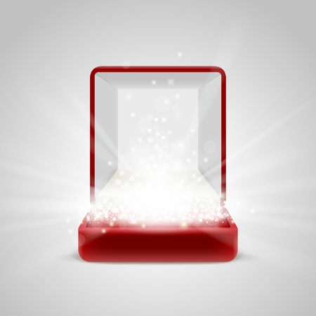 radiance: Opened red gift box with bright light radiance from inside, with glitters, sparkles and beams. Place to insert your object inside