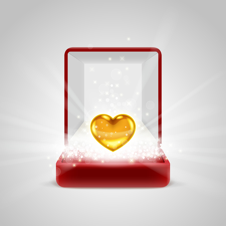 radiance: Opened red gift box with gold heart in bright light radiance from inside, with glitters, sparkles and beams. Giving love concept