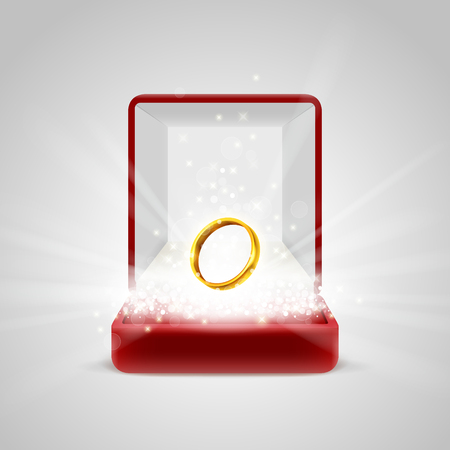 radiance: Opened red gift box with gold ring in bright light radiance from inside, with glitter, sparkles and beams. Wedding ring for sweetheart