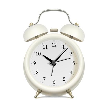 on white: Realistic white alarm clock on white background