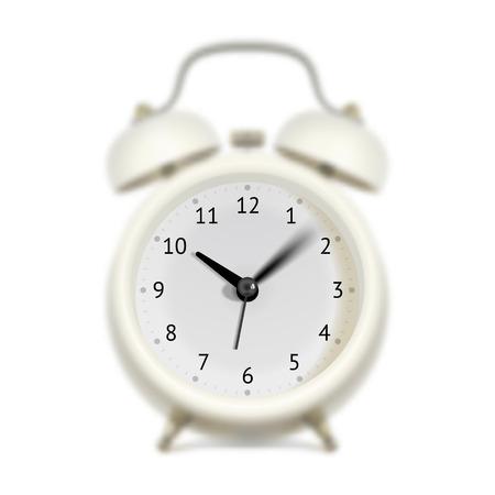 llegar tarde: Reloj de alarma blanca con movimiento de barrido segundos, manecilla de minutos y horas mano. Cuerpo de reloj borrosa. Concepto del tiempo de vuelo Vectores