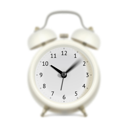 hasten: White alarm clock with moving sweep-second hand, minute hand and hour hand. Blurred clock body. Time flying concept