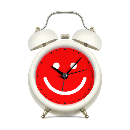 good mood: White alarm clock with red clock face, with picture of smiling face on white background. Always in a good mood concept