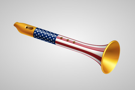 hegemony: Golden fife with USA flag on gray background. Foreign policy of USA concept