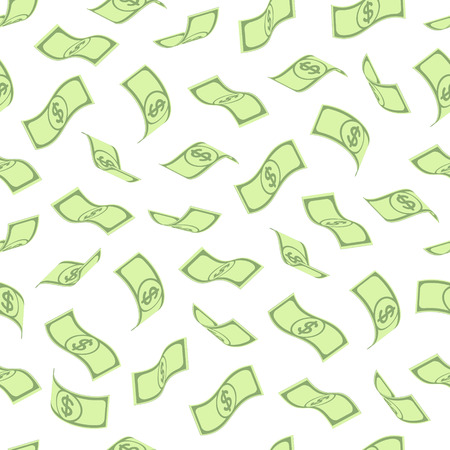 signo pesos: sin patrón, con retorcidas billetes verdes dispuestas libremente con signo de dólar, sobre fondo blanco