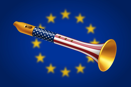 dictatorship: Golden fife with USA flag on blurred European Union flag background. Geopolitical interaction of USA and EU and foreign policy concept