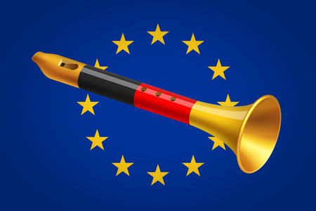 geopolitics: Golden fife with Germany flag on background of European Union flag. European geopolitics