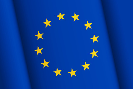 geopolitics: Flag of European Union, inclined wavy surface with chiaroscuro smooth transitions