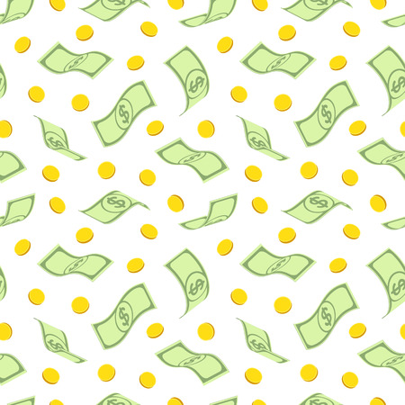 Seamless pattern with twisted freely arranged green banknotes with dollar sign and gold coins, on white background Иллюстрация