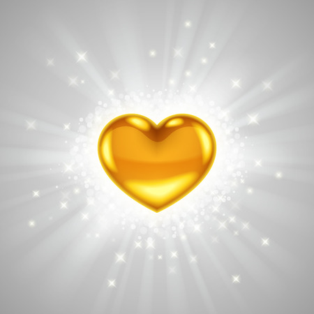 radiance: Gold heart in bright light radiance, with glitters, sparkles and beams around