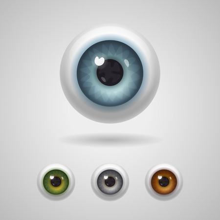 yeux: Globes oculaires avec de grands iris de bleu, vert, gris et les couleurs noisette