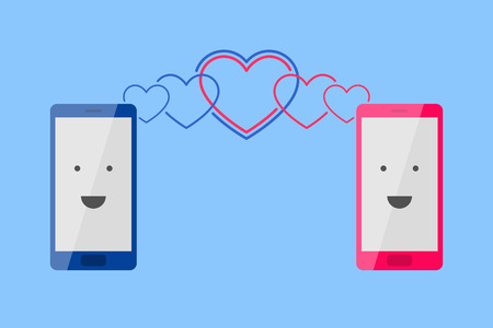 subscriber: Mans blue phone and womans pink phone with smiling faces is placed one near by another, and heart-shaped waves is spreading toward each other. Enamored persons are talking by phone