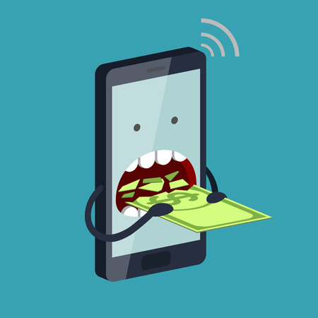 voracious: Funny stylized phone is eating a banknote with dollar sign. Expensive payment of communication services and unremunerative tariff concept Illustration