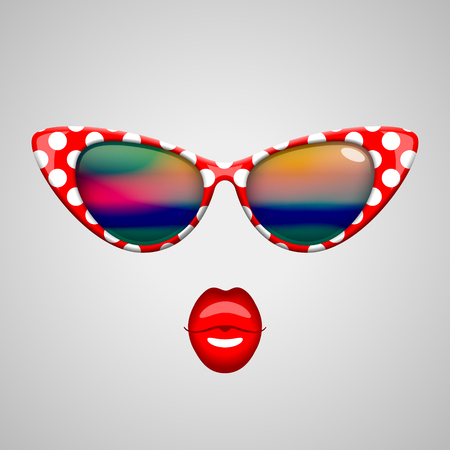 kissing lips: Vintage red with white polka dots sunglasses with colorful reflections inside and bright red kissing lips. Beauty and fashion concept