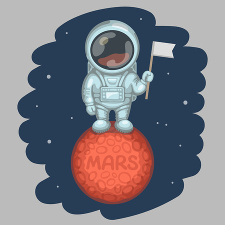 planets: Funny astronaut dressed in white spacesuit is standing on red planet and holding in his hand small flag, craters and MARS inscription on planet surface. Expedition to Mars and space exploration concept