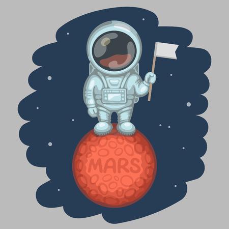 planeten: Lustige Astronaut im weißen Raumanzug gekleidet ist auf roten Planeten stehen und in der Hand kleine Flagge, Krater und MARS Inschrift auf Planetenoberfläche zu halten. Expedition zum Mars und Raumforschung Konzept Illustration