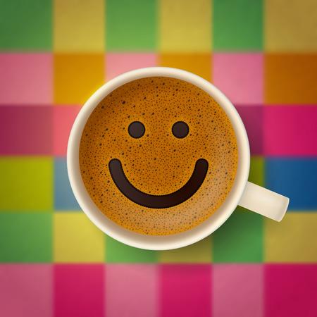 buena suerte: Taza de caf� con la cara sonriente divertida en la superficie espumosa, en el fondo borroso multicolor tejido a cuadros. Buen humor y vivacidad para el d�a activo