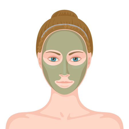 clay mask: Young white-skinned woman without make-up and cosmetic mask of gray-green color on her face. Facial skin care using natural ingredients. Beauty and skin care concept