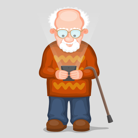alone man: Elderly man is looking to screen of modern smartphone and smiling. Glow is from screen of  phone. Old people and new technology concept