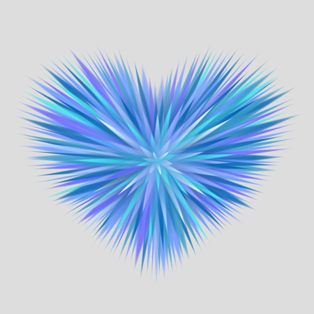 endings: Heart composed of blue rays with sharp endings, on gray background. Cold heart concept Illustration