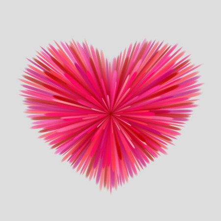 an outburst: Heart-shaped firework of red, pink and maroon beams at gray background. Bright love concept