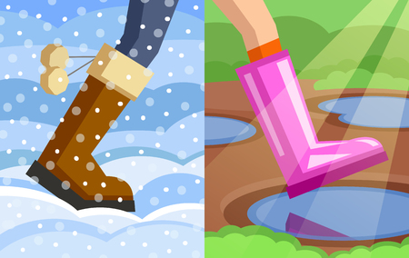 wintery: Legs of walking person, one foot dressed in winter boot on snowy winter background, another foot dressed in rubber boot on spring background. Step from winter to spring. Change of seasons concept Illustration