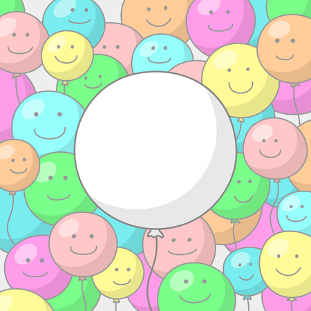 merry mood: Festive background with multicolored balloons with smiling faces and big white balloon in the center with place for congratulatory text inside