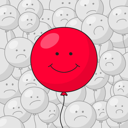 grayness: Big red balloon with funny smiling face at the foreground and many small gray balloons with disgruntled faces at the background. Success in business concept