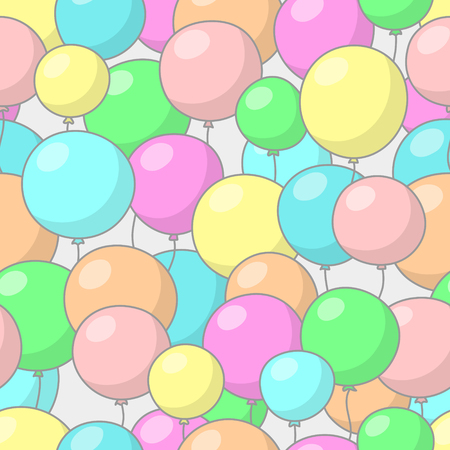 mirth: Seamless festive pattern with multicolored balloons, on gray background Illustration