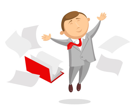 cheerfully: Happy clerk dressed in black business suit and with red tie is cheerfully jumping up, arms is outstretched in different sides. Opened folder with documents and sheets around him Illustration
