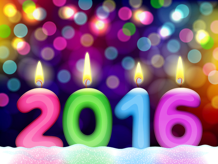 Colored lighting candles in shape of digits are forming together a number 2016, on abstract blurred background from bokeh of multicolor lights Illustration