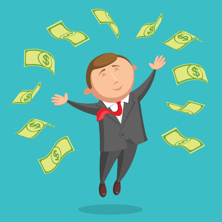 contented: Happy and contented businessman dressed in gray suit and with red tie is jumping among the dollars, arms are outstretched at the sides, on blue background. Success in business and income concept