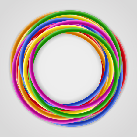 wire: Abstract background with bright colored plastic wires, twisted around, with place for text at the center, on gray background
