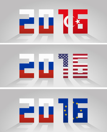 geopolitics: Designation year 2016 with flag of Russia and at left side and flags of Turkey, United States and European Union alternately at right side. Foreign policy and diplomatic relations concept