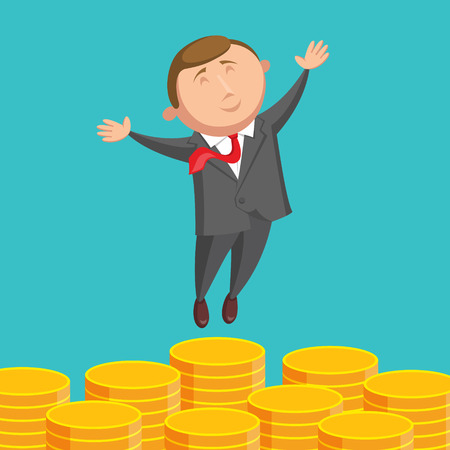 jumping businessman: Happy and contented businessman dressed in gray suit and with red tie is jumping above gold coins, arms are outstretched at the sides, on blue background. Success in business concept Illustration