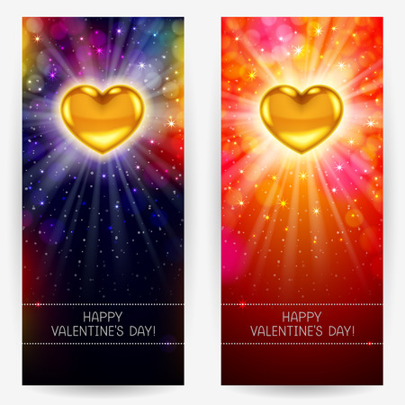 congratulatory: Festive bright backgrounds with golden hearts, rays and glow, congratulatory text below, for Valentines Day. Vertical rectangular banners