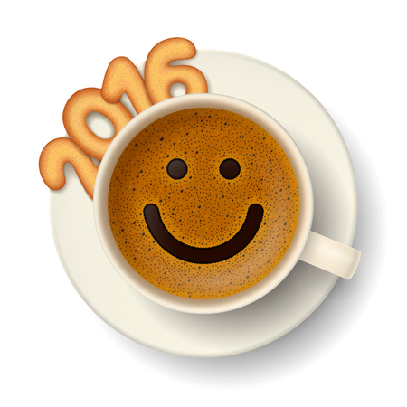 frothy: Coffee cup with funny smiling face on frothy surface, cookies in shape of digits are forming together the number 2016 on saucer. Good mood and vivacity for active days in New Year 2016