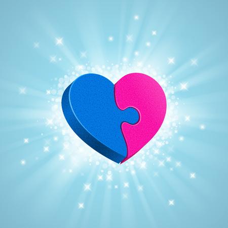 simbolo uomo donna: Due puzzle stanno formando tutto il cuore, luce, scintille e raggi intorno, su sfondo blu. maschio parte blu e rosa parte femminile Love concept Vettoriali