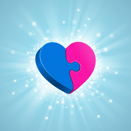 man symbol: Two puzzles are forming a whole heart, glow, sparkles and rays around, on blue background. Blue male part and pink female part Love concept Illustration