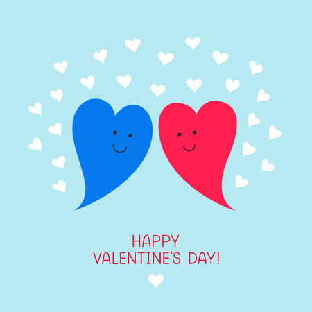 Couple of enamored cute hearts, blue male heart and pink female heart, many small hearts around. Congratulatory text for Valentines Day at the bottom